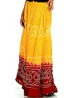 Amber and Red Shaded Bandhani Skirt
