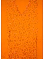 Burnt Orange Two-Piece Suit with All-Over Kashmiri Hand-Embroidery