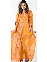Burnt-Orange Kaftan from Kashmir with Ari-Embroidered Flowers