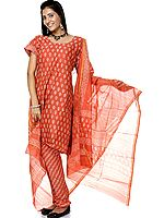 Burnt-Sienna Block-Printed Chanderi Choodidaar Salwar Suit
