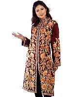 Burnt-Umber Long Kashmiri Jacket with All-Over Embroidered Flowers