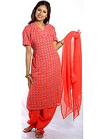 Cerise Salwar Kameez with All-Over Lukhnavi Chikan Embroidery