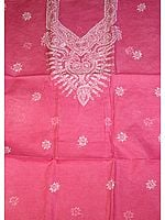 Cerise Salwar Suit Fabric with All-Over Lukhnavi Chikan Embroidery