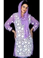 Chikan Embroidered Amethyst Top with Stole