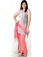 Coral and Gray Batik Dyed Parallel Suit with Mokaish Work and Embroidery