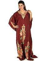 Cordovan Kaftan from Kashmir with Ari Embroidered Flowers