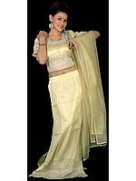 Cream Bridal Lehenga Choli with Beadwork and Sequins