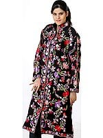 Crewel Embroidered Black Long Floral Jacket from Kashmir