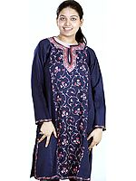Dark-Blue Phiran from Kashmir with Embroidered Creepers