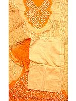 Fawn and Orange Bandhani Suit from Gujarat with Mirrors