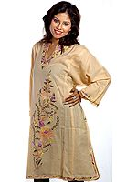 Fawn Kashmiri Phiran with Crewel Embroidered Flowers