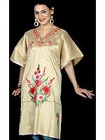 Flax Kashmiri Short Kaftan  with Floral Embroidery