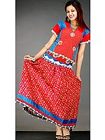 Floral Printed Two-Piece Lehenga Choli from Chhatisgarh with Cowries