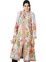 Grayish-Blue Long Jacket with All-Over Floral Embroidery