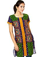 Green Bandhani Tie-Dye Kurti from Gujarat with Applique Work and Mirrors
