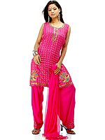 Hot Pink Crepe Suit with All-Over Brass Beads