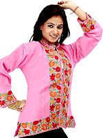 Hot Pink Jacket with Floral Embroidery on Borders
