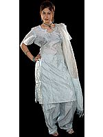 Icy-Blue Kora Silk Salwar Suit from Banaras with All-Over Weave