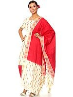 Ivory and Red Choodidaar Suit with Ikat Weave