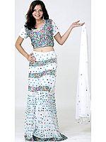 Ivory Bridal Lehenga Choli with Multi-Color Sequins