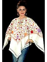 Ivory Floral Poncho with Ari Embroidery All-Over