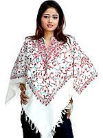Ivory Poncho with Jaal Ari Embroidery