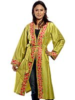 Chartreuse Green Gown from Kashmir with Crewel-Embroidered Flowers