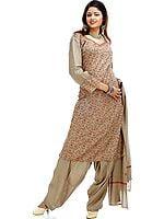 Khaki Needle Embroidered Salwar Suit with Shawl