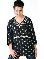 Black Designer Kurti with Beadwork and Self-Design