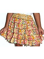 Yellow Printed Malmal Skirt for 4 Year Old Girls