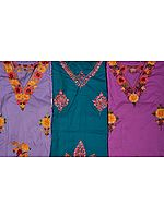 Lot of Three Kashmiri V-Neck Kaftans with Ari Embroidery