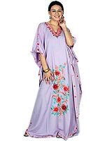 Amethyst Floral Kaftan with Multi-Colored Ari-Embroidery
