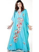 Turquoise-Blue Kaftan from Kashmir with Ari-Embroidered Flowers
