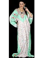 Light-Green and Ivory V-Neck Kaftan with Crewel Embroidery All-Over