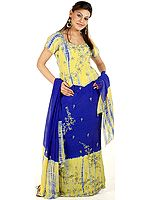 Lime and Blue Batik-Dyed Lehenga Choli with Sequins and Embroidery