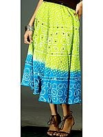 Lime and Turquoise Bandhani Skirt with Large Sequins
