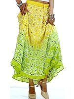 Lime and Yellow Bandhani Skirt with Large Sequins