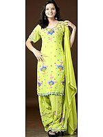 Lime Green Salwar Kameez with Multi-Color Sequins