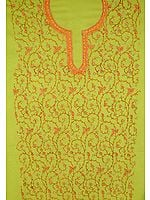 Lime Green Two-Piece Suit with All-Over Kashmiri Hand-Embroidery