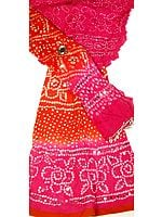 Magenta and Rust Bandhani Lehenga Choli with Sequins