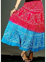 Magenta and Turquoise Bandhani Skirt with Large Sequins