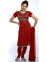 Maroon Anarkali Suit with Embroidered Sequins
