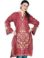 Maroon Silk Kurti Top from Kashmir with All-Over Ari Embroidery