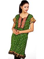 Medium-Green Bandhani Tie-Dye Kurti from Gujarat with Applique Work
