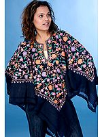Midnight Blue Floral Poncho with Ari Embroidery