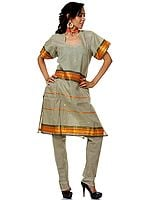 Moss Gray Two-Piece Chanderi Salwar Kameez Suit with Brocade Weave