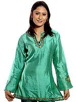 Moss-Green Kashmiri Top with Beadwork