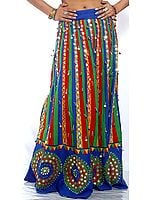Multi-Colored Lehenga Skirt from Jaipur with Large Sequins and Beads
