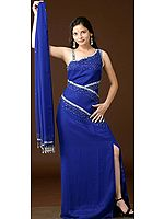 Navy Blue Evening Gown with Sequins and Beads