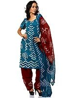 Ocean-Depth Blue Bandhani Salwar Kameez Suit with Mirrors and Threadwork
